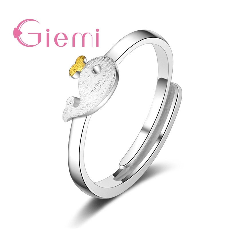 Exquisite Compact Solid 925 Sterling Silver Adjust Opening Finger Rings Cute Dolphin Shape Design Jewelry Present For Women Girl