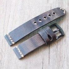 20 22mm Retro Mann hohe qualität Aus Echtem Leder Uhr Straps Edelstahl Schnalle Universal Starke Uhr Band Armband Armband