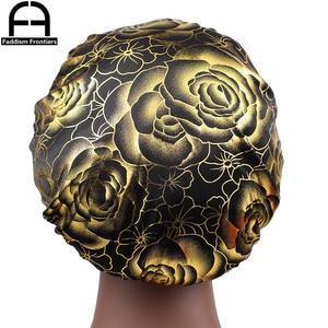 Fashion Women's Silky Bonnet Rose Print Sleeping Cap Hair Cover Satin Bonnet Cap Hair Accessories Turban Hat for Women