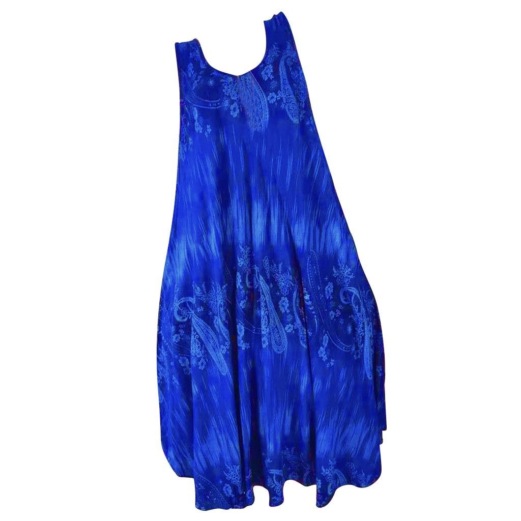 FREE OSTRICH-vestido de mujer, azul, con escote en V, sin mangas, estampado Irregular, largo hasta la rodilla, moda sexual, elegante, veraniego