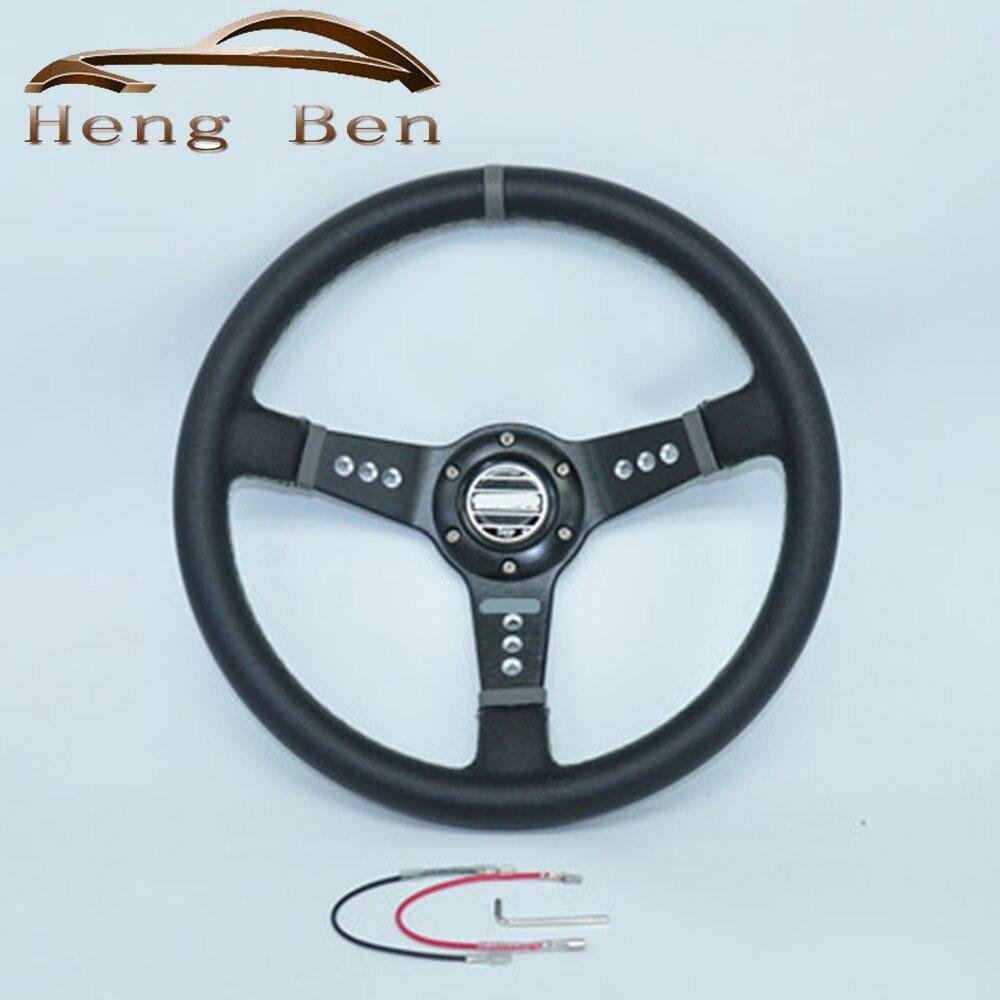 HB 350MM PVC Steering Wheel Racing Car / White Stitch With 9 Holes Black Spokes Universal SPCO Steering Wheel
