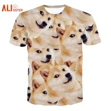 Alisister Harajuku Women/Men Funny Head Doge 3D Short Sleeve T-shirt Deus God Dog/shiba Inu Print 3D Tees Tops Large Size