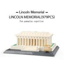 WANGE O Lincoln memorial Arquitetura Figura Blocos de Construção De Tijolos De Construção Brinquedos Para As Crianças Do Presente Do Natal