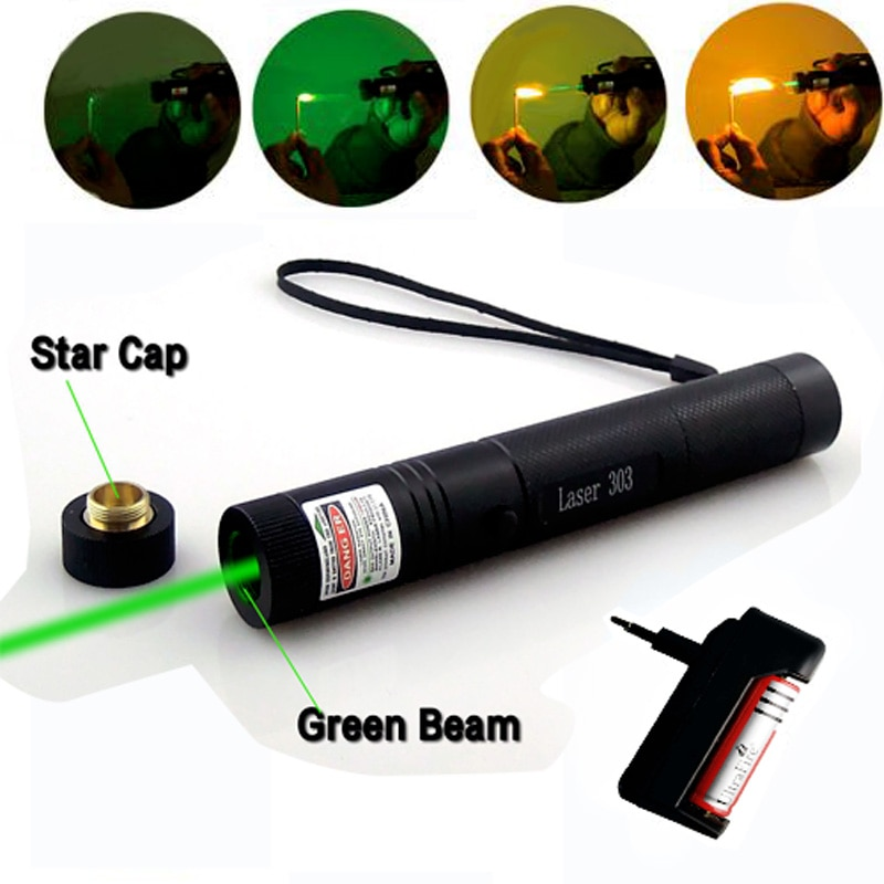 Láser verde láser Dispositivo de indicador potente 10000m Enfoque Ajustable Lazer con tapa de estrella + cargador + batería 18650