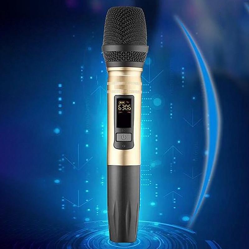 Uhf Беспроводная микрофонная система ручной светодиодный микрофон Uhf динамик с портативным usb-приемником для Ktv Dj речевой усилитель