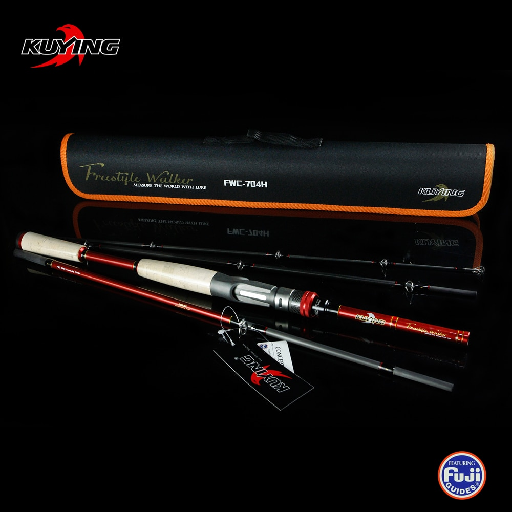 KUYING Freestyle Walker 2.1m Hard Lure Fishing Rod Casting Mini Pocket Travel Carbon Pole Stick Cane Medium Fast Action Max. 60g enlarge
