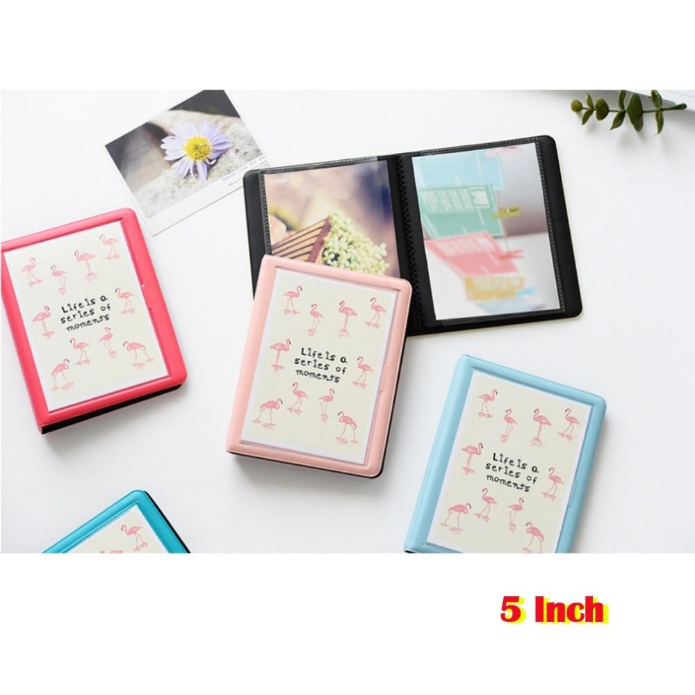 32 bolsillos colorido flamenco Mini funda para álbum de fotos almacenamiento para 5 pulgadas Foto/Instax WIDE Film