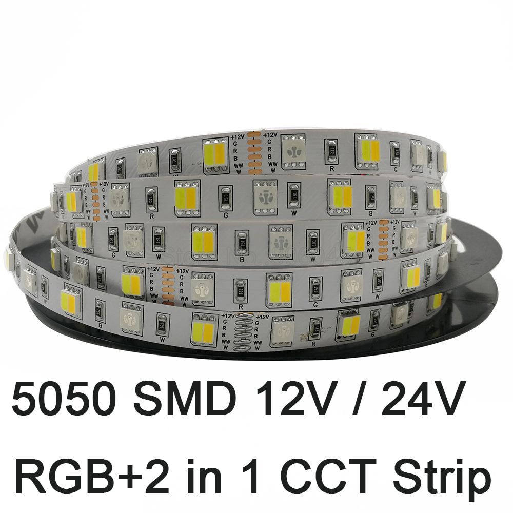 5m 5050 tira LED RGB + AAC RGB + CW + WW 2 en 1 Chip de Color temperatura ajustable cinta LED IP20/IP65/IP67 impermeable 12V 24V 12mm