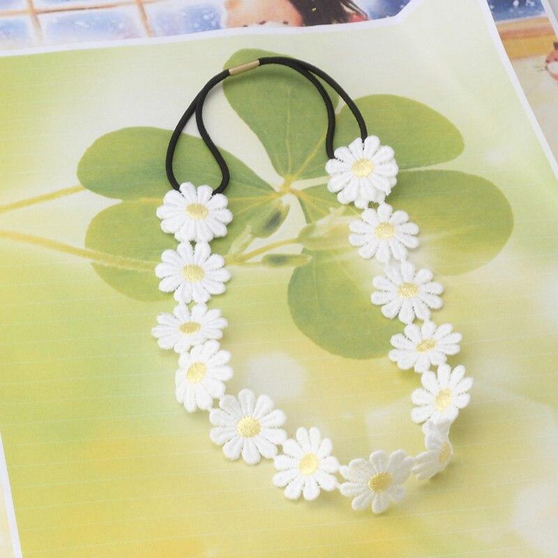 Diadema de flor de moda para niñas, diadema elástica, accesorios para el cabello para mujeres, adornos de margaritas blancas, cadena para la cabeza, banda para la cabeza Floral, cabello