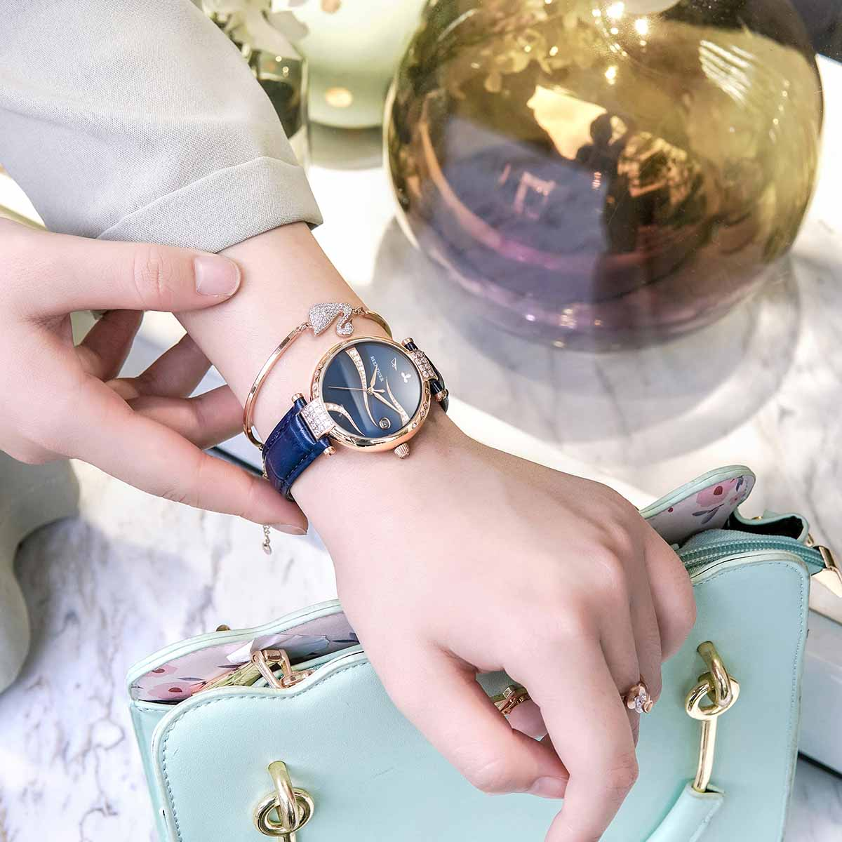 Reef Tiger/ RT Diamonds Automatic Leather Band Fashion Women Rose Gold Case Stainless Steel Luxury Ladies Watches RGA1589 enlarge