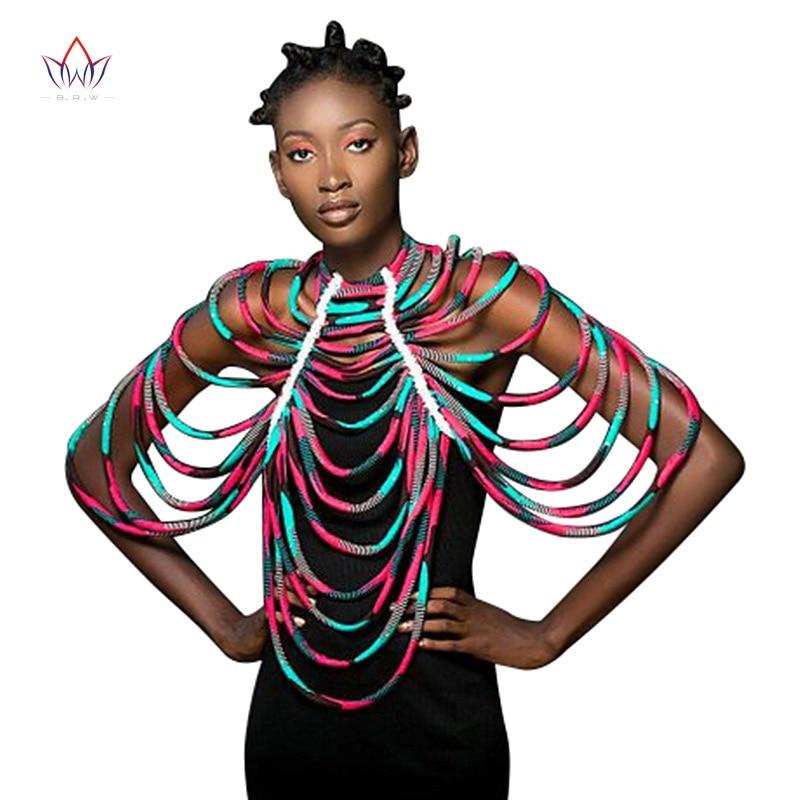 Cuentas africanas collar de joyas hechas a mano africano Ankara collares joyería conversión pieza cuerda collar chal Tribal SP003