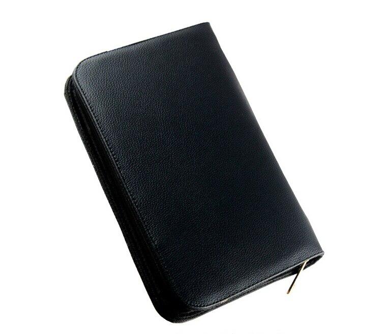 36 pluma estilográfica negra funda grande de cuero PU para 36 lotes de bolígrafos estuche de bolígrafo bolsa de lápiz