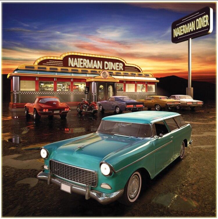 10x10FT Car Parking Lot Restaurante Restaurante Do Sol Do Vintage Personalizado Estúdio de Fotografia Backdrop Vinil 8x8 10x12