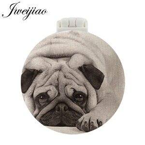 JWEIJIAO Pet Dogs Photo UV печатное карманное зеркало с массажной расческой Новые складные компактные портативные зеркала для макияжа