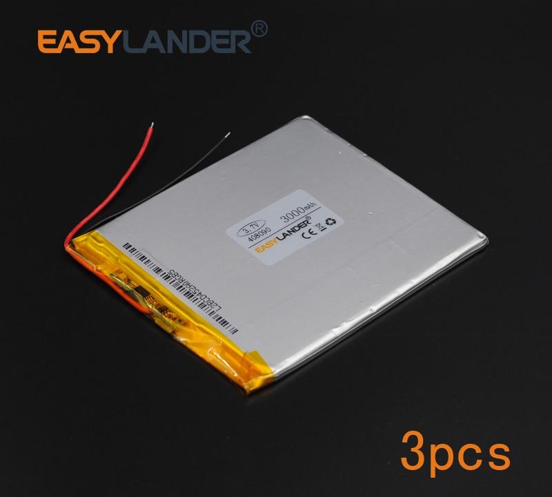 3pcs/Lot 3.7V 3000mAh Polymer Li-ion Battery For Tablet PC iPAQ E-Book Power Bank PDA Portable  electronics safety lamp 408090