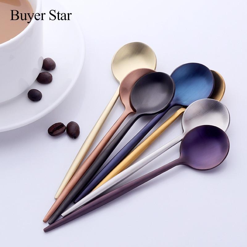 Set of 6 Coffee Spoons 18/8 Stainless Steel Espresso Spoons for Dessert Tea Spoon Appetizer Mini Teaspoons Tableware 7 Colors