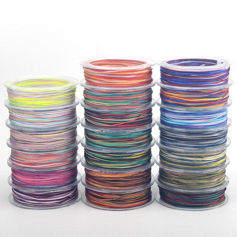 0,8 мм Цветные нейлоновые нити, китайский Узелок, макраме, шнур, плетеный браслет, DIY кисточки вышивка бисером 25 м/рулон