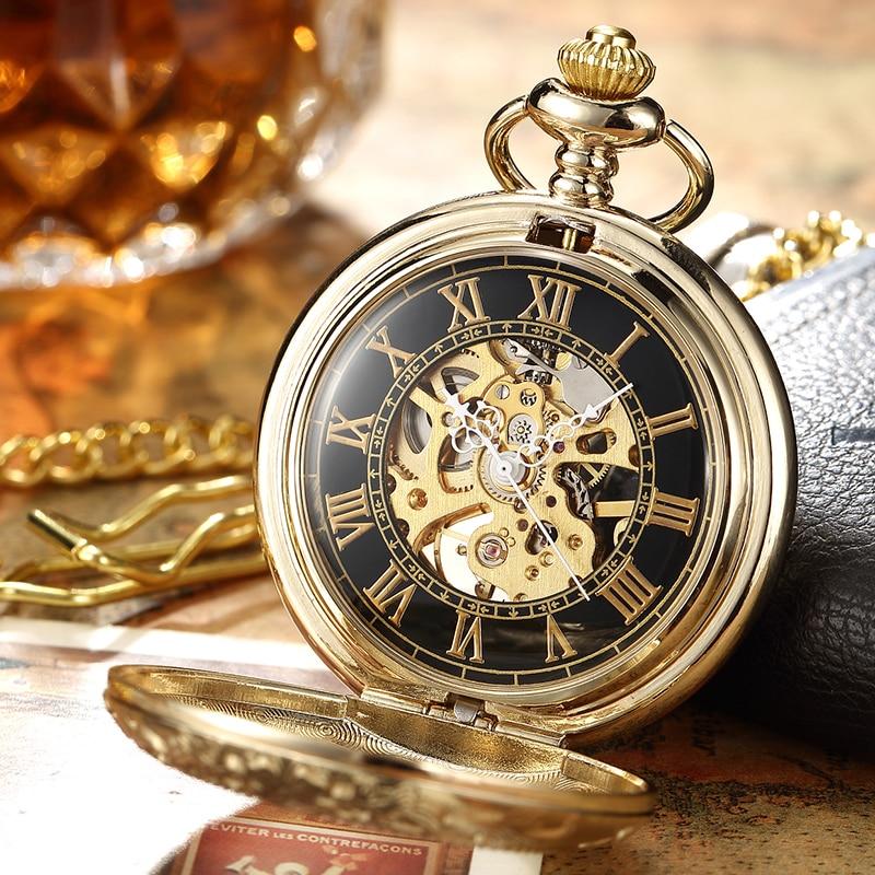 Luxury Retro Golden Hollow Skeleton Mechanical Pocket Watch Mens Fob Chain Steel Exquisite Sculpture Women Men Wath Gifs