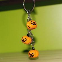 Fancy&Fantasy Cartoon Car Keychains Halloween Pumpkin Shape Keyring Lovely Bag Pendant Key Ring Fashion Jewelry Gift For Women
