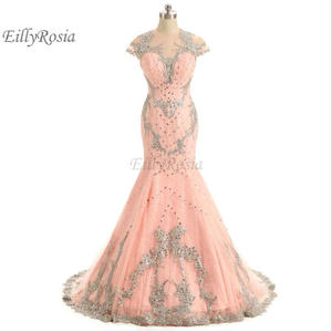 Pink Mermaid Evening Dresses Luxury Beading Sequins Rhinestones Appliques Lace Sheer Back Elegant Ceremony Dresses abendkleider