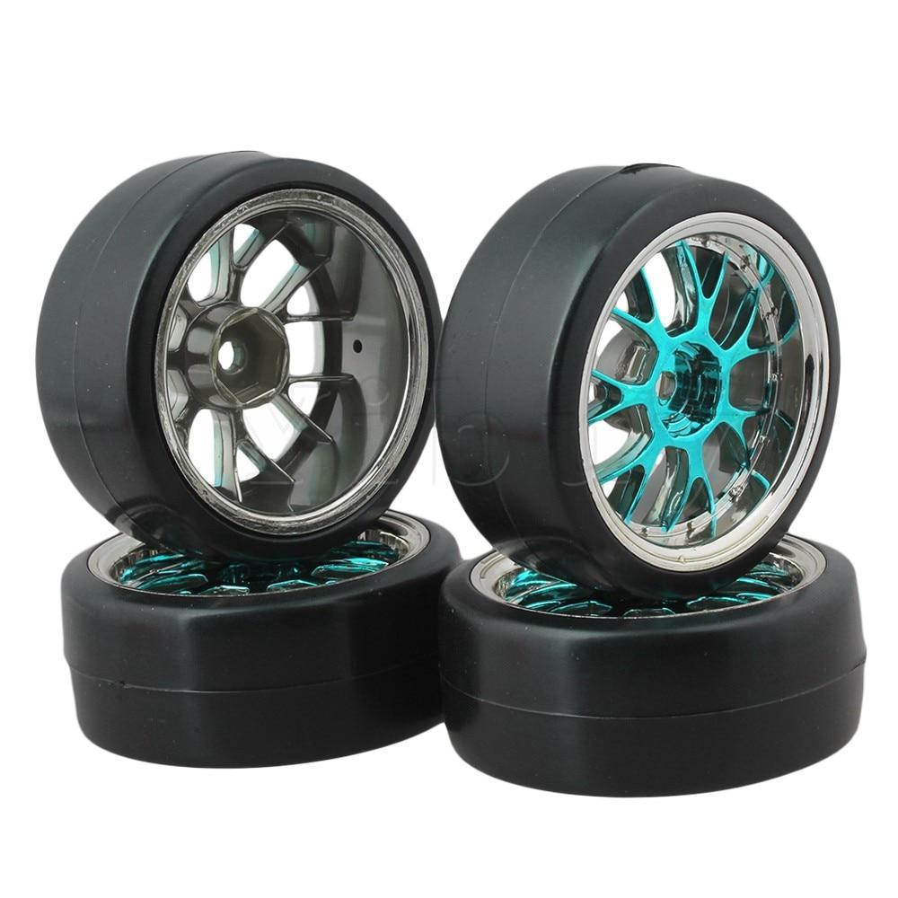 Mxfans 4 x neumáticos de desviación Y forma buje azul llantas para RC 1:10 Drift Car negro plástico