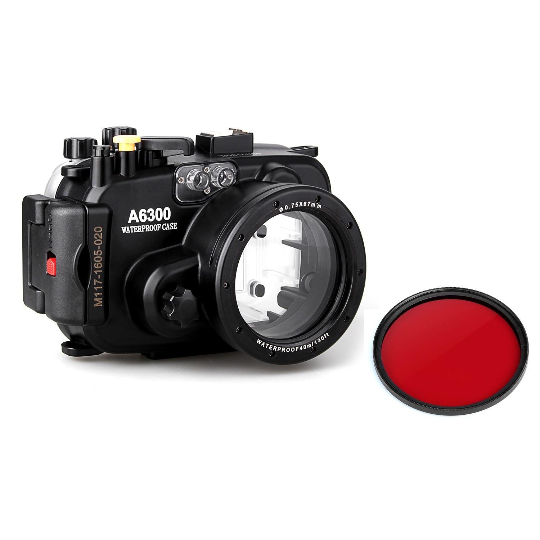 Meikon 40m 130ft impermeable Cámara subacuática carcasa para cámara sony A6300 + filtro rojo