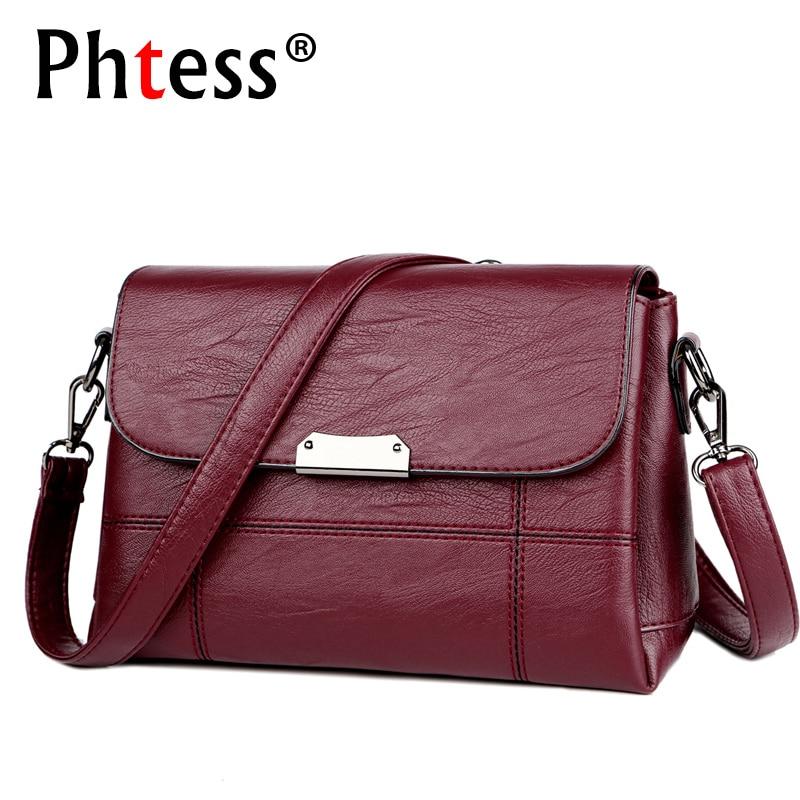 2019 Women Vintage Messenger Bags Flap Female Crossbody Leather Shoulder Bag Luxury Handbags Women Bags Designer Ladies Bag