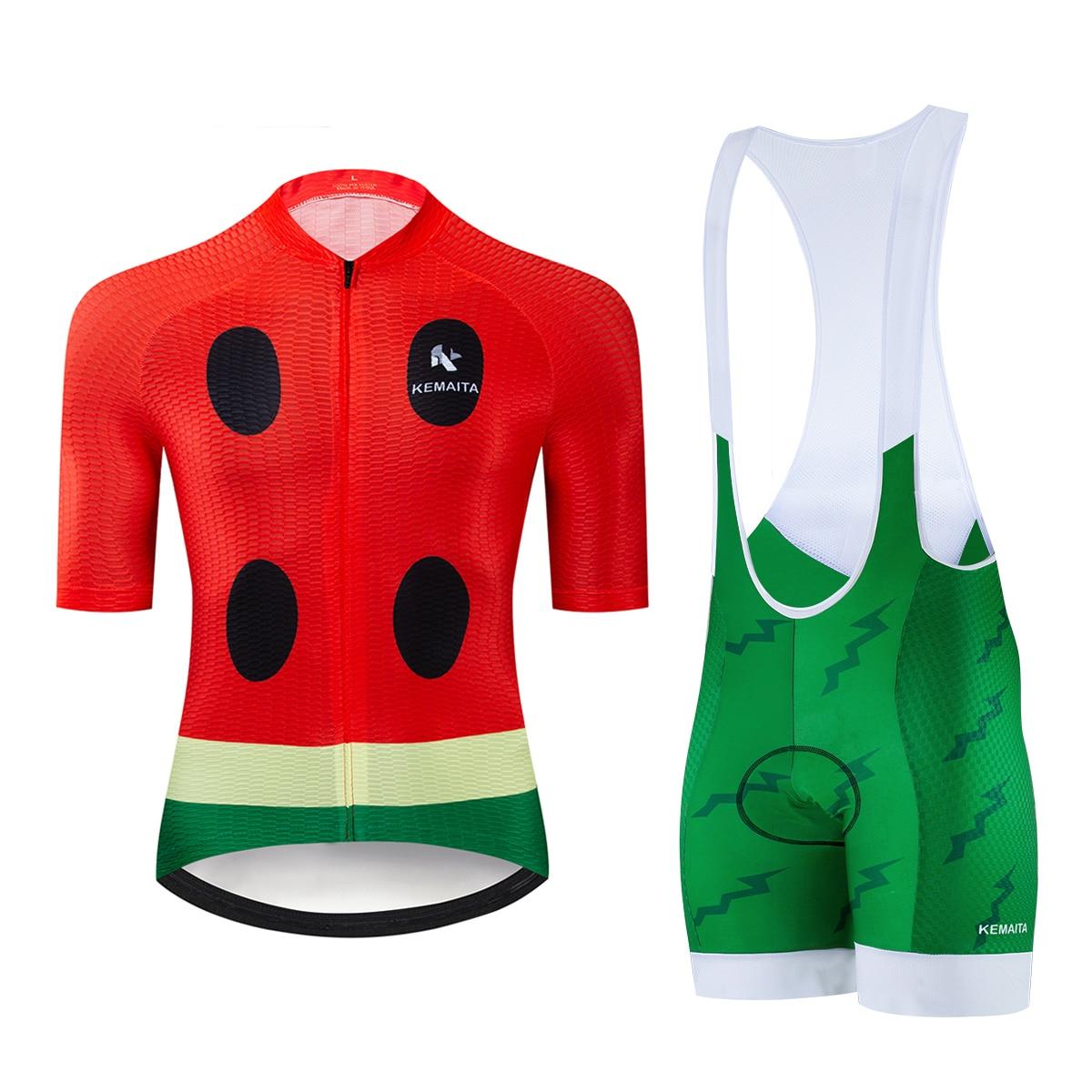 Kemaita conjunto de ciclismo, conjunto de ciclismo engraçado, design de melancia, camisa de ciclismo, profissional, mtb pro