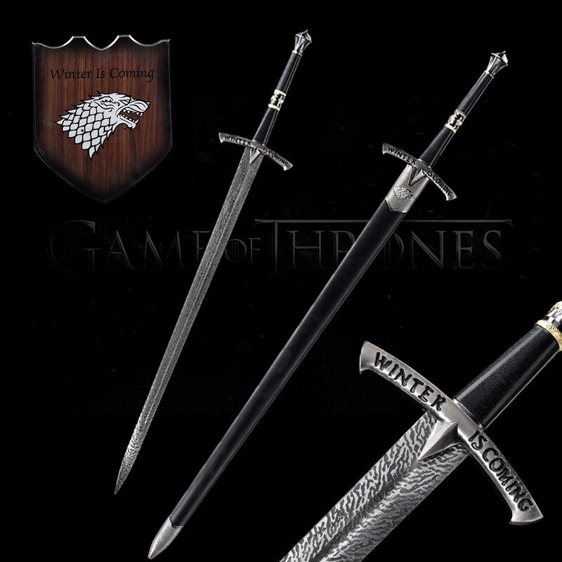 Réplica de espadas de hielo de Juego de tronos, soporte colgante de pared de acero inoxidable, Sheath-48Inch de madera negra