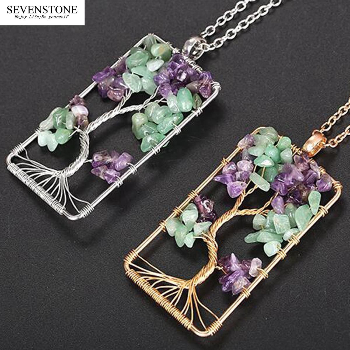 SEVENSTONE 2019 New Natural Stone Amethysts Gravel Square Tree of Life Pendant Necklaces Women Men Crystal Choker Jewelry Boho