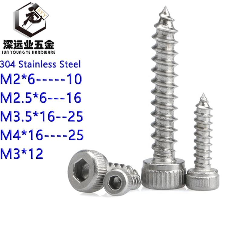 Acero inoxidable 304 tuercas hexagonales cabeza del enchufe tornillos autorroscantes modelo de altavoz tornillos M2 M2.5 M3 M3.5 M4