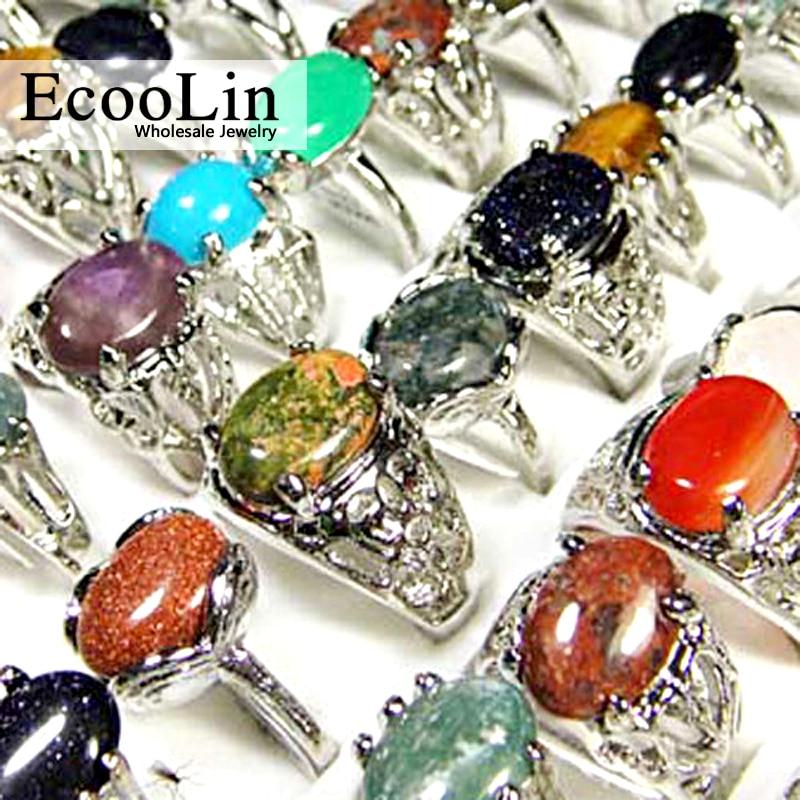 Nueva venta al por mayor de lotes de joyería. 15 piezas anillos de piedra natural con revestimiento de plata. Envío gratis