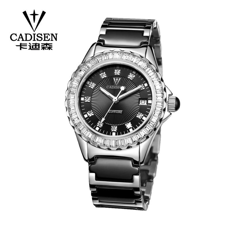CADISEN Women's Watches Luxury Brand Gold Ceramic Strap Automatic Date Quartz Watch Sapphire Crystal Waterproof Relojes Mujer enlarge