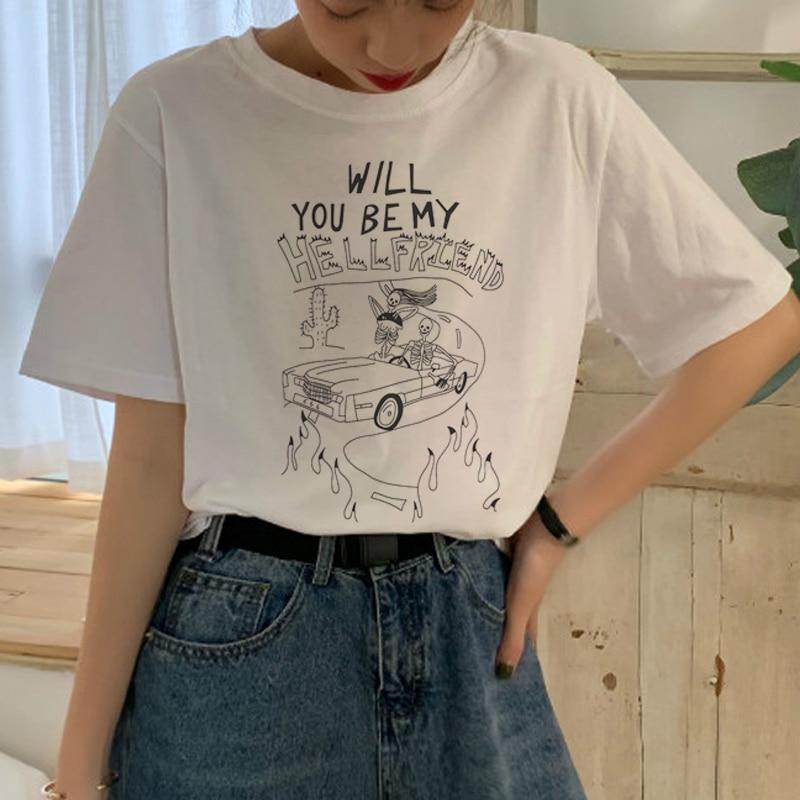 Nueva camiseta Satán Harajuku para mujer Ullzang, divertida camiseta satánica de dibujos animados Lucifer 90s, divertida camiseta a la moda para mujer