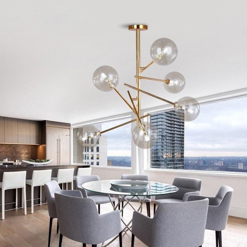 Lampe à suspension en verre branches, personnalité moderne, haricots magiques, lampe à suspendre les boules de verre, fixation moderne