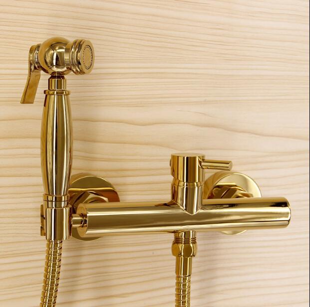 Juego de grifo de bidé de baño de Latón dorado total de alta calidad a la moda, juego de pistola de inodoro, juego de Grifo de ducha de baño moderno de lujo