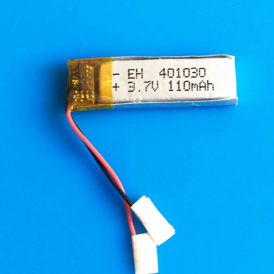 Batería recargable de iones de litio li-polímero de 3,7 V 110mah 401030 para MP3 MP4 GPS auriculares bluetooth cámara de vídeo en forma de bolígrafo 4x10x30mm