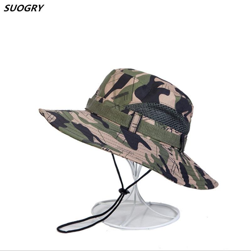 6 cores militar camuflagem balde chapéus selva camo pescador chapéu com aba larga sol balde de pesca chapéu tampas de acampamento