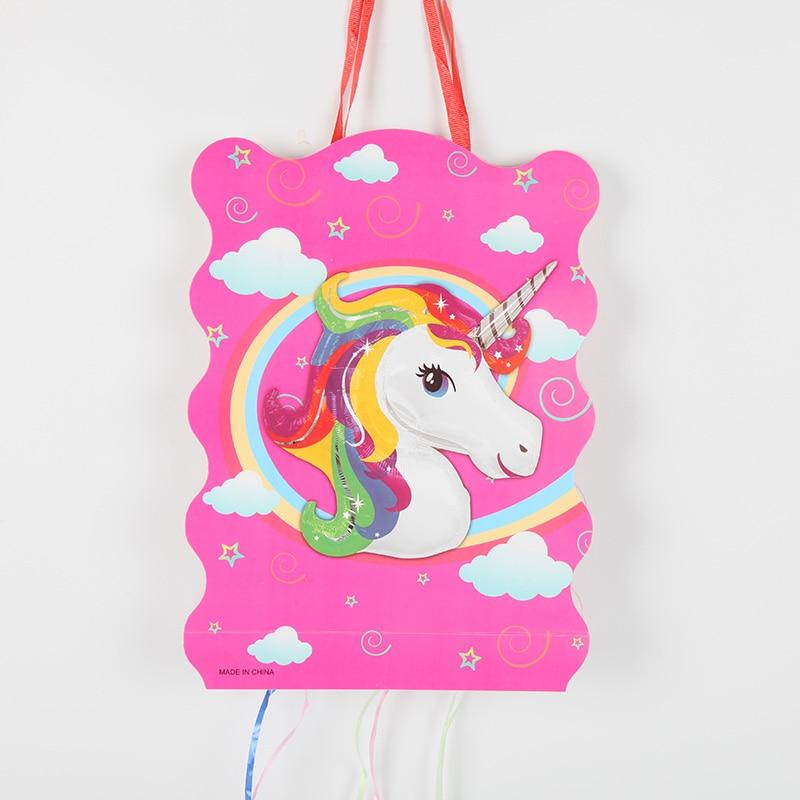 1set unicornio piñata de papel plegado niños chicas chicos proveedor de artículos para cumpleaños feliz cumpleaños decoración fiesta juego juguete
