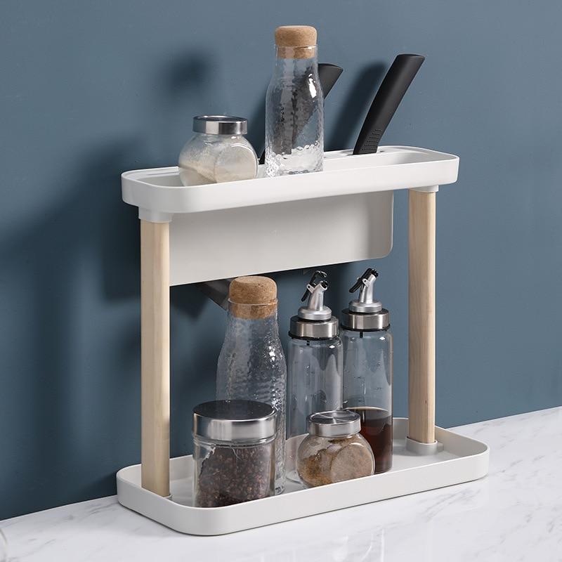 طاولة مطبخ رف متعدد الطبقات بهار تخزين رف أرضية خشبية صلبة الدائمة حامل سكاكين رف توابل ZP7161041