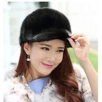 liyafur new womens 100 real genuine mink fur winter hats caps visor warm adjustable