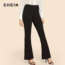 SHEIN noir Vintage solide contraste reliure Flare jambe taille élastique élégant pantalon automne bureau dame vêtements de travail femmes pantalon