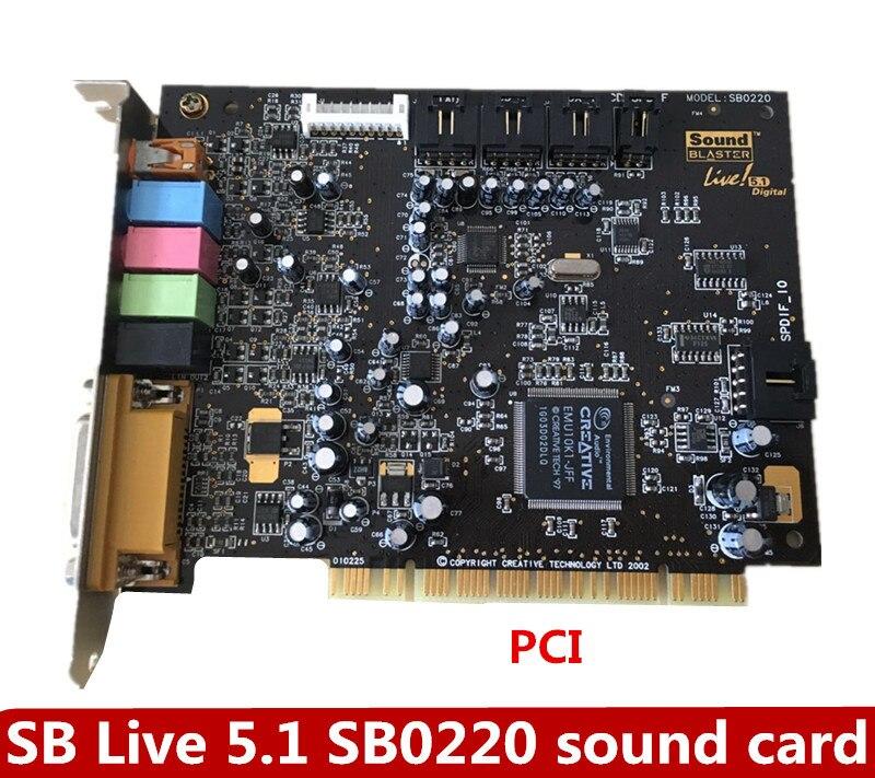 الأصلي الابتكار 5.1 كارت الصوت SB0220 كارت الصوت دعم محرك KX ، K أغنية التصحيح دعم win10
