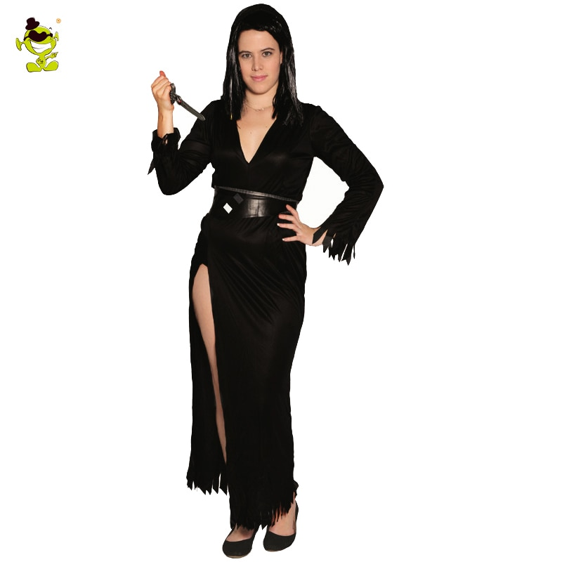 Fantasia feminina elvira no escuro, roupa fantasia preta totalmente sensual