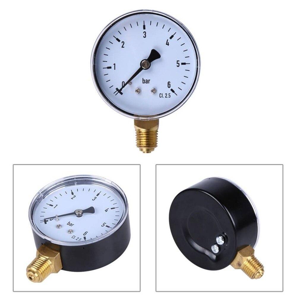 Manómetro de 0-6bar 1/4 NPT con rosca, manómetro de montaje lateral, placa de Dial para combustible, aire, aceite, agua, medición de presión