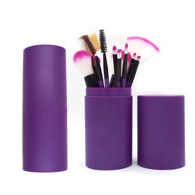 12 Pcs Lápis Delineador Sombra de Olho Maquiagem Jogo De Escova Pincéis de Maquiagem Rosa Roxo Alça Pote Plástico DQ69