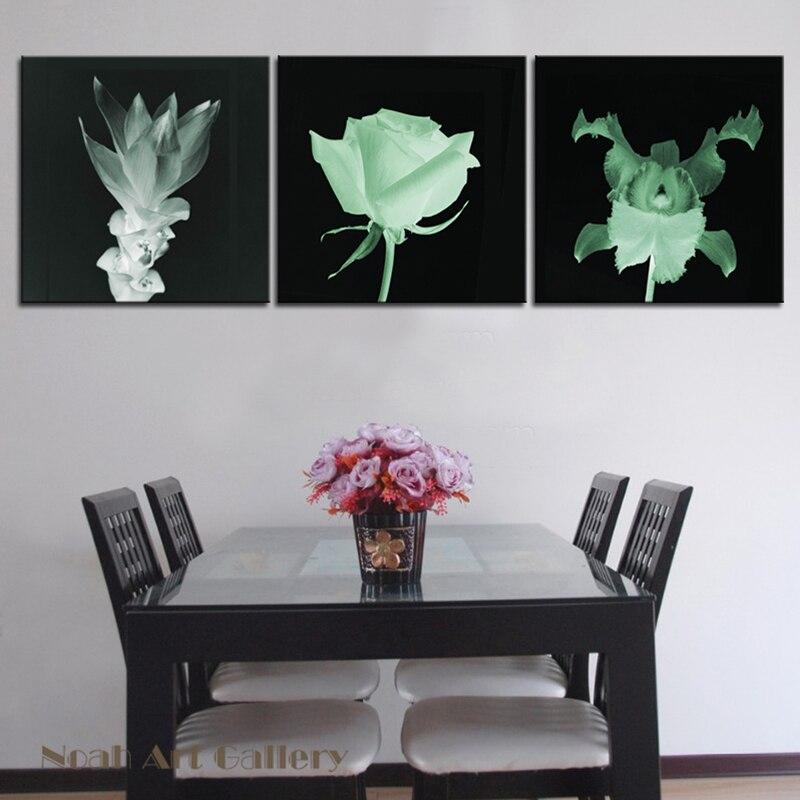 Czarne tło kwiat biały malarstwo nowoczesne druk na płótnie druk w wysokiej rozdzielczości Wall Art dekoracje Unframed