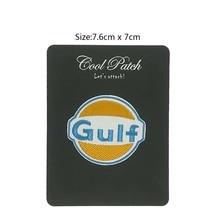 Parche bordado de hierro para coser Logo emblema GULF OIL RACING para preparar carreras de coches