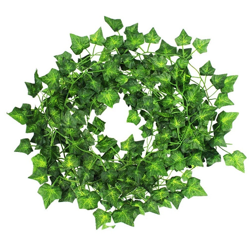 Paquete de 24 hojas de hiedra Artificial Diy, guirnaldas colgantes verdes para decoración de paredes de jardín para fiestas de bodas (79 pulgadas cada una)