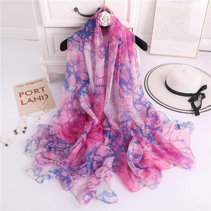 """Bufanda de seda para mujer de marca de diseñador 2020, bufandas de verano de gran tamaño con estampado de flores, hiyabs, cuello, pashmina, estolas foulard 74 """"x 55"""""""